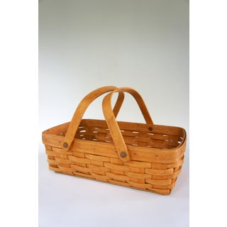 1990s Longaberger Handwoven Picnic Basket Preview
