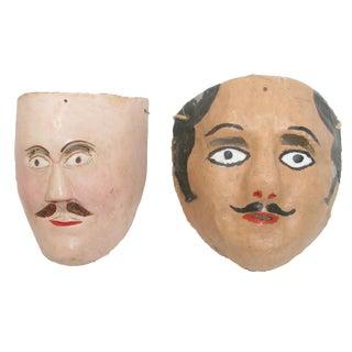 Artisan-Made Mexican Folk Art Masks, Pair For Sale