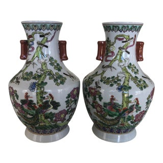 1960s Famille Rose Vases - a Pair For Sale