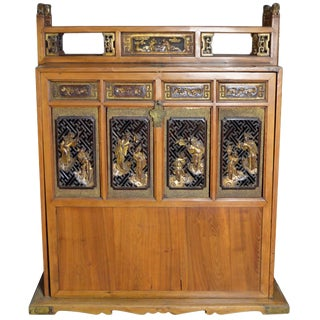 19th Century Chinese Dowry Chest With Fretwork and Carved Gilt Characters For Sale