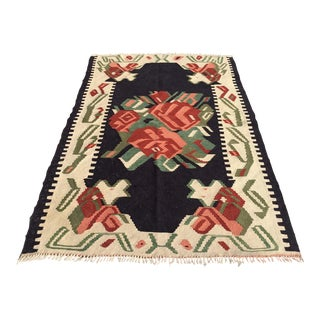 "Vintage Turkish Kilim Rug - 3'6"" X 5'8"" For Sale"