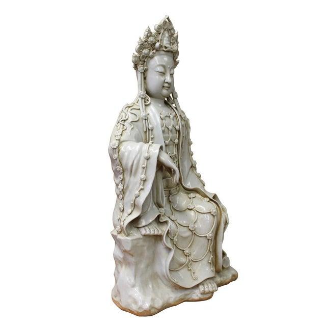 Chinese Tong Style Porcelain Kwan Yin Tara Bodhisattva Statue For Sale - Image 5 of 7