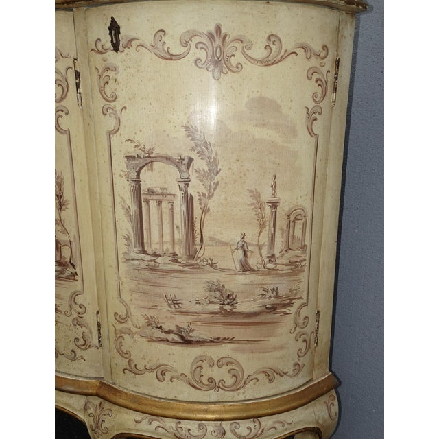 Antique French Country Italian White Hand Painted Demilune Chest Made in Italy For Sale In Los Angeles - Image 6 of 13