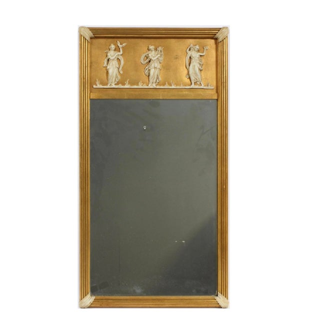 1930s Early 20th Century Giltwood Neoclassical Wall Hanging Mirror For Sale - Image 5 of 5