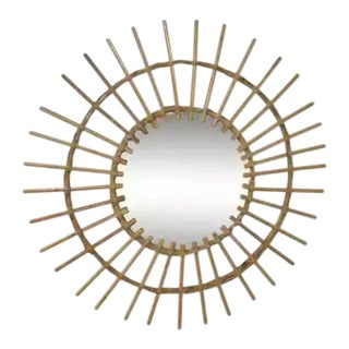 1950s French Starburst Rattan Mirror For Sale