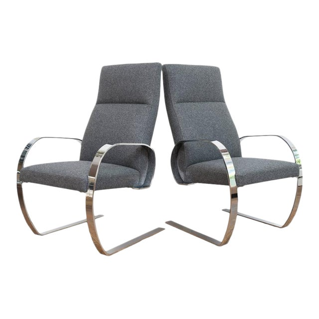 Gray Wool & Chrome Cantilever Armchairs - a Pair For Sale