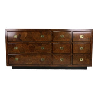 Oyster Burl Dresser with Campaign Style Brass Hardware For Sale