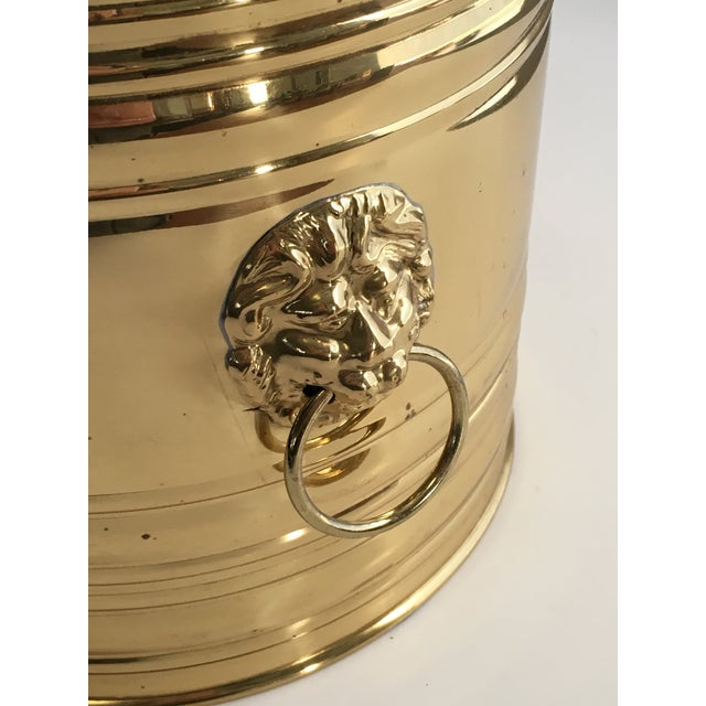 Lion Head Brass Planter, Made in England For Sale - Image 5 of 11