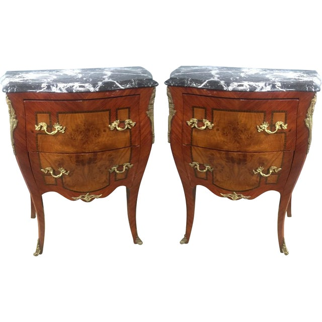 Antique Inlaid Marble Top Side Tables - Pair - Image 1 of 2