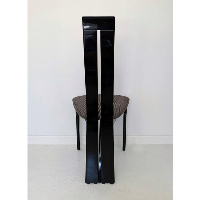 1990s Vintage Italian Pietro Costantini High Back Black Lacquer Dining Chairs- Set of 6 For Sale - Image 12 of 13
