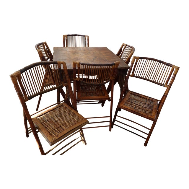 Florida Rattan and Bamboo Folding Game Table With Six Folding Chairs - 7 Pieces For Sale