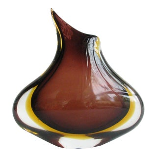 Mid 20th Century Flavio Poli Amber and Brown Sommerso Murano Organic Vase For Sale
