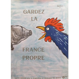 1989 Original French Poster - Gardez La France Propre - Savignac For Sale