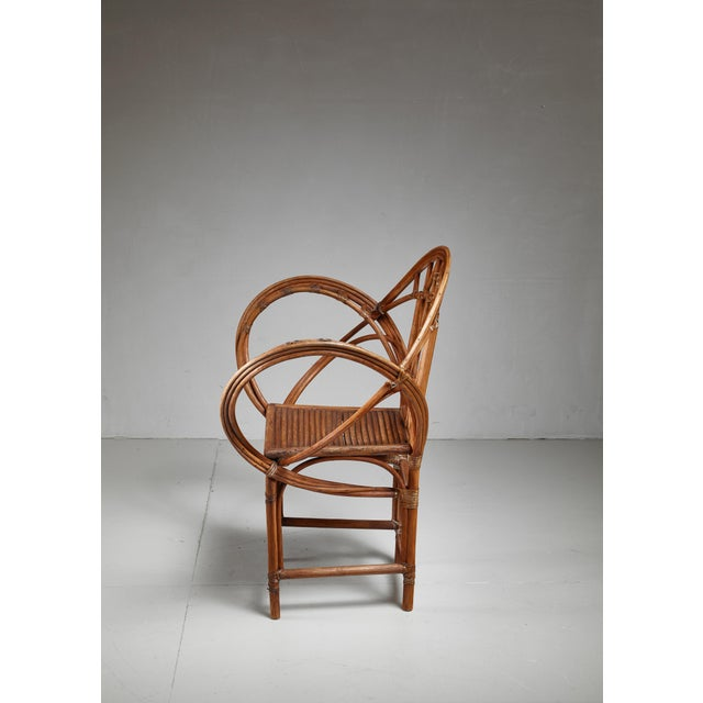 Curved hand-crafted willow chair, Austria For Sale - Image 6 of 7