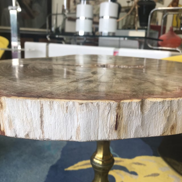 1970s Petrified Wood Side Table With Lucite Base For Sale - Image 5 of 10