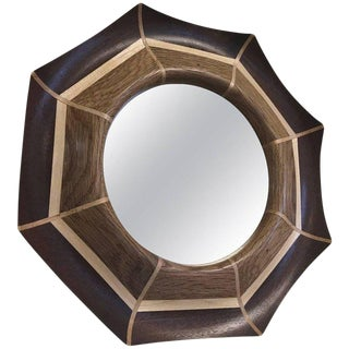 Custom Oak and Walnut With Maple Inlay Mirror For Sale