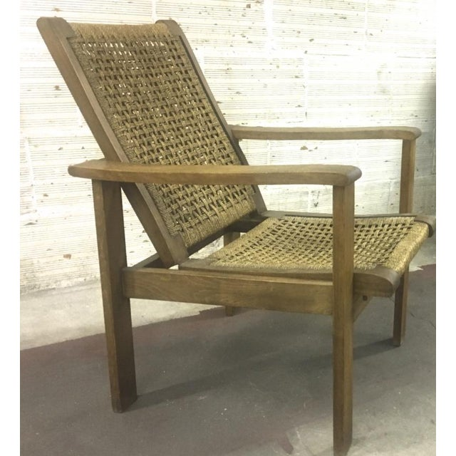 Brutalist French Riviera Style Pair of Reclining Rope Lounge Chair For Sale - Image 3 of 8
