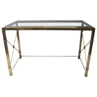 Brass Regency Style Desk With Glass Top For Sale
