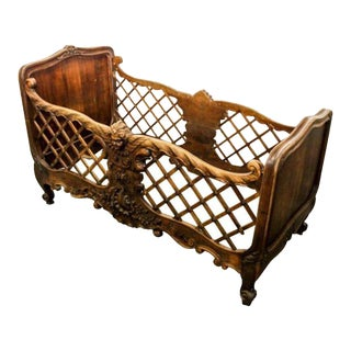 Rare and Unusual 19th Century Louis XVI Style Doll Bed or Baby Crib For Sale