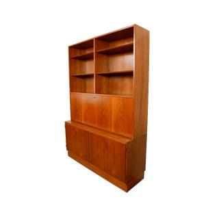 1960s Danish Modern Teak Wall Unit Desk Bookcase For Sale