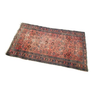 """1910s Lightly Distressed Oriental Tribal Handknotted Rug 76"""" X 43"""" For Sale"""