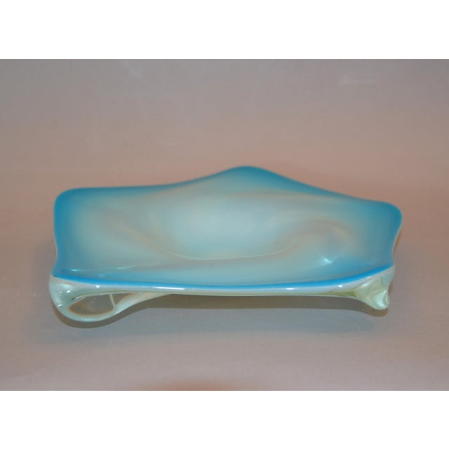 Murano Glass hand blown light blue, white and clear bowl / catchall. No markings. Simply beautiful.
