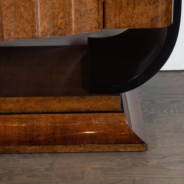 English Art Deco Streamlined Black Lacquer and Burled Carpathian Elm Cabinet For Sale - Image 10 of 10