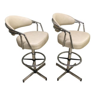 1980's Modern Chrome Bar Stools by Cosco - a Pair For Sale