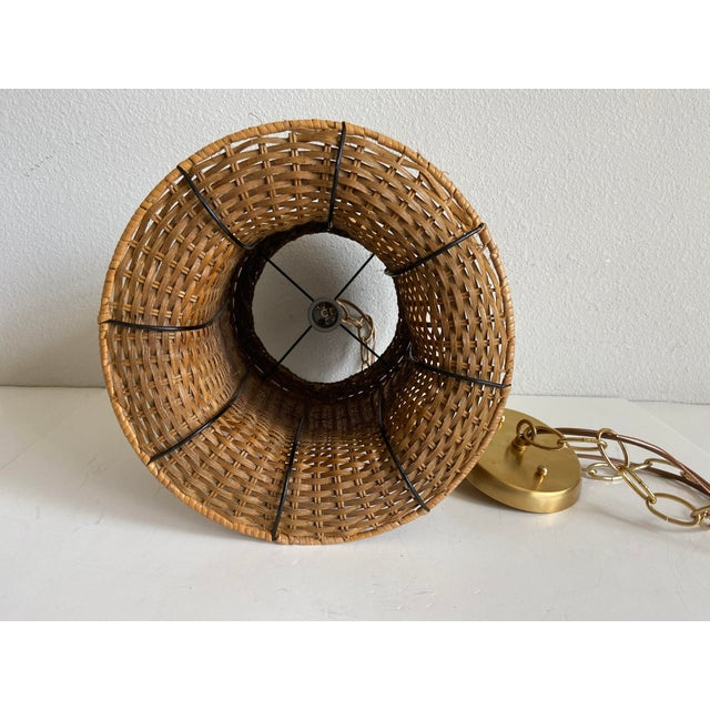 Wicker Top Hat Pendant Light For Sale - Image 9 of 10