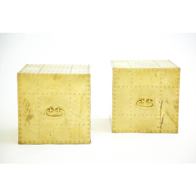 Sarreid Ltd. Sarreid Brass Cube End Tables For Sale - Image 4 of 8