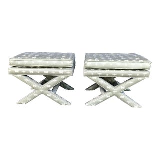Vintage Upholstered X Benches- a Pair For Sale