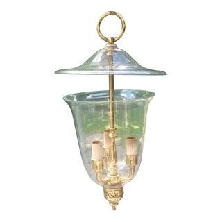 English Pierced Brass 4-Light Glass Hall Lantern For Sale