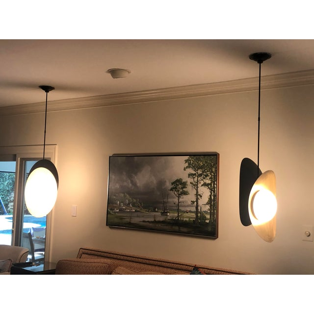 """Visual Comfort """"Nouvel"""" Bronze With Antique Brass Pendant Ceiling Light For Sale - Image 10 of 12"""
