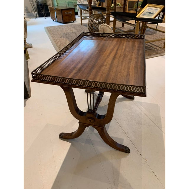 1940s 1940s Traditional Side/Coffee Table With Brass Gallery For Sale - Image 5 of 10