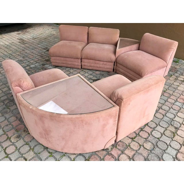 This 1980s Hollywood Regency Seven-Piece Group Modular Sofa Sectional is such an inviting piece in both scale and comfort....