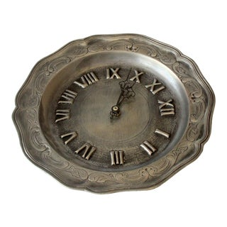 1950s Solid Pewter Working Wall Clock For Sale