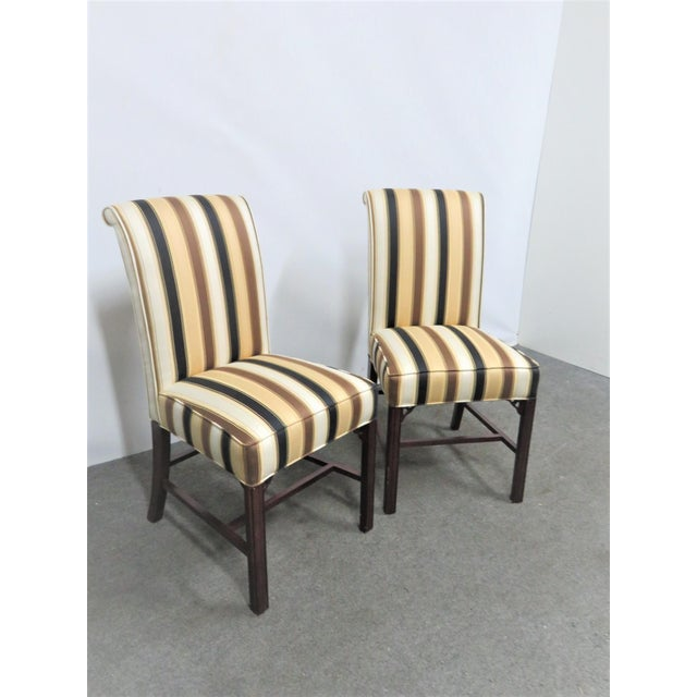 Wood Late 20th Century Vintage Statesville Chair Co. Stripped Chippendale Style Side Chairs-a Pair For Sale - Image 7 of 7