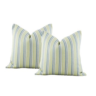 Vintage Green Striped French Linen Pillow Covers - a Pair For Sale