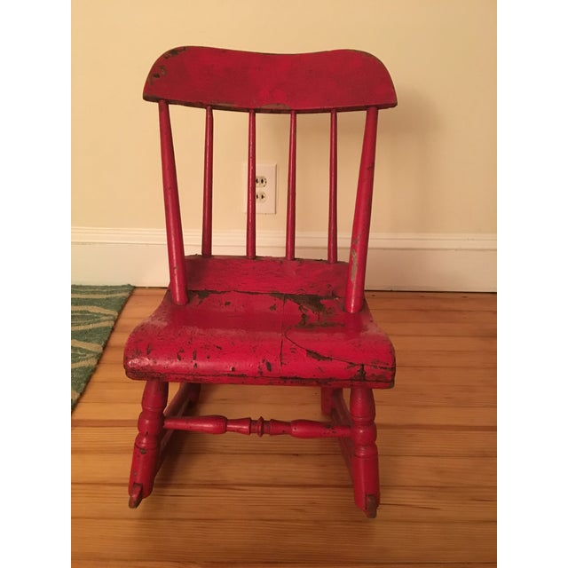 Early 19th Century Child's Rustic Red Wooden Rocking Chair For Sale - Image 10 of 10