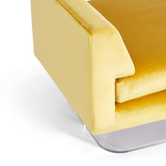 Mid-Century Modern Lucite and Yellow Silk Velvet Bench For Sale - Image 3 of 7