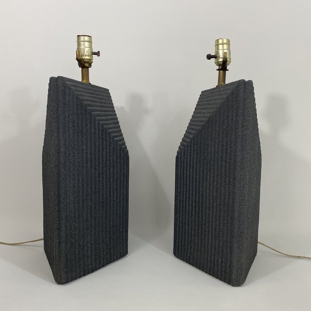1980s Grey Postmodern Stepped Ceramic Lamp Pair For Sale - Image 4 of 13