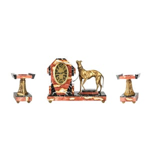 Circa 1920 Art Deco Marble & French Bronze Clock Garniture With Greyhound - Set of 3