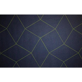 Sample, Maya Romanoff Cozy Day Dreamer: Peacoat/Chartreuse - Woven Wool Wallcovering For Sale