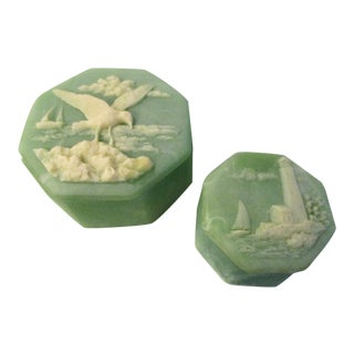 Incolay Light Green Coastal Boxes, a Pair For Sale