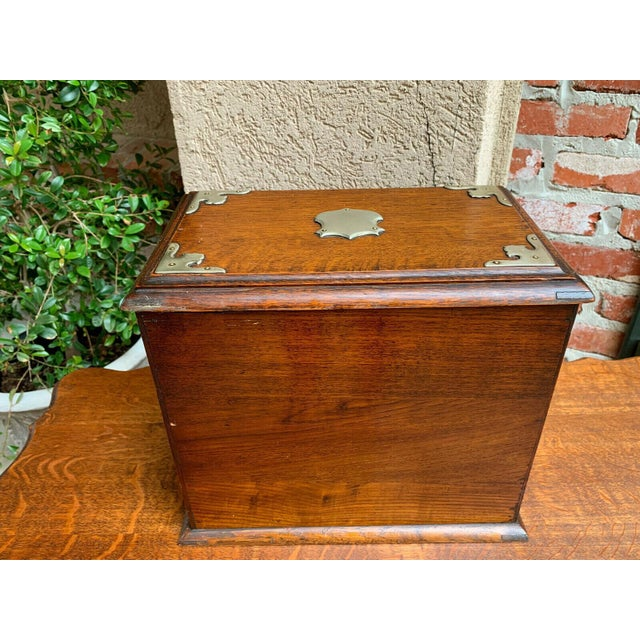 Antique English Tiger Oak Pipe Smoke Cabinet Card Game Box Humidor Lift Top For Sale - Image 12 of 13