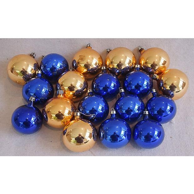 set of 18 vintage glass christmas tree ornaments largest 275w x 3 - Blue Christmas Tree Ornaments