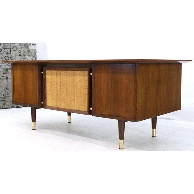 1970s Caned Back Overhanging Floating Banded Top Large Brass Hardware Executive Desk For Sale - Image 5 of 12
