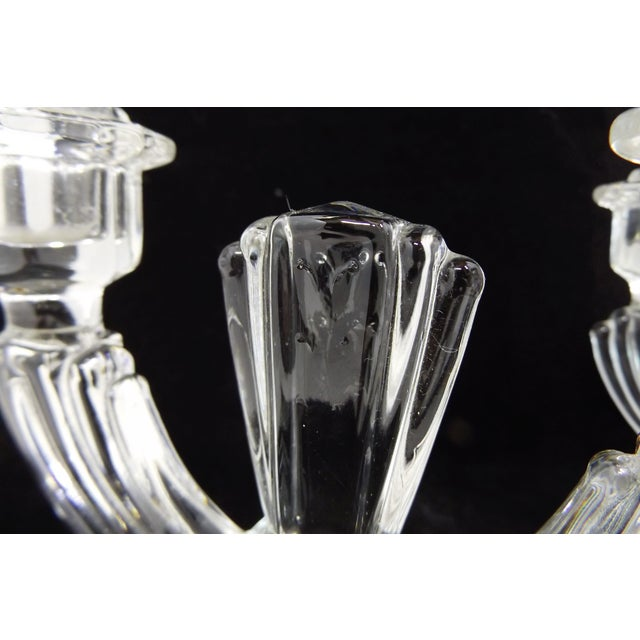 Vintage Art Deco Crystal Glass 2 Stick Candle Holders by Tiffin Glass - A Pair - Image 6 of 8