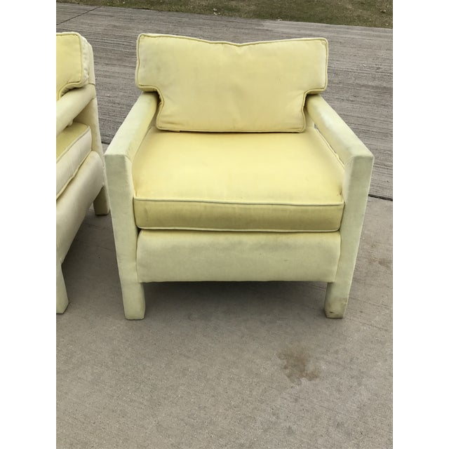 Metal 1980s Vintage Yellow Velvet Milo Baughman Style Parsons Open Arm Club Chairs- A Pair For Sale - Image 7 of 12