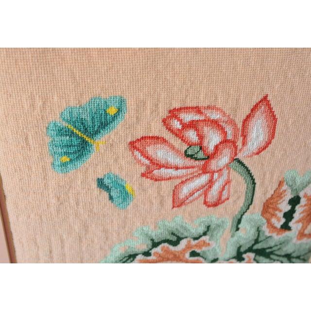 1970s 1970s Vintage Crewel Pink Floral Needlepoint For Sale - Image 5 of 8